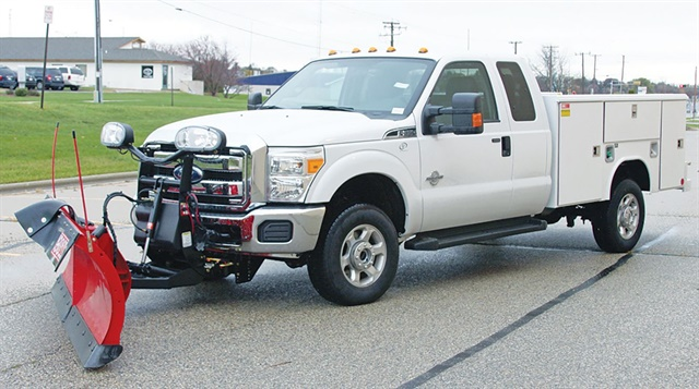 For fleets concerned about staying below 10,000-lb. GVW, upfitting a light- or medium-duty truck with a plow attachment offers more versatility than a dedicated plow truck. Photo courtesy of Merchants Fleet Management