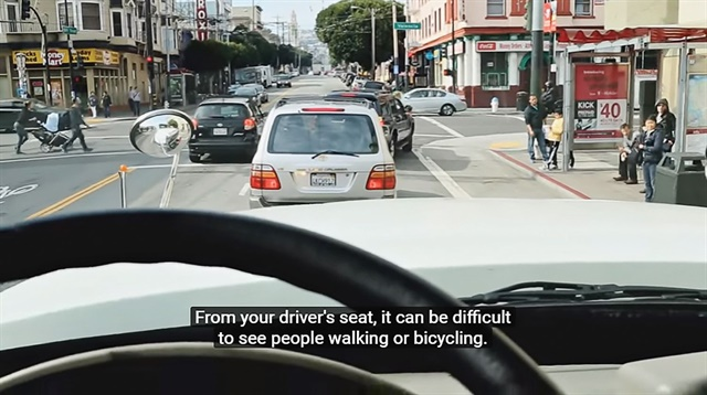 "The ""Large Vehicle Urban Driving Safety"" video is required viewing for municipal and contracted truck drivers operating in San Francisco. The training video offers advanced instruction for navigating city streets. Image courtesy of San Francisco MTA"