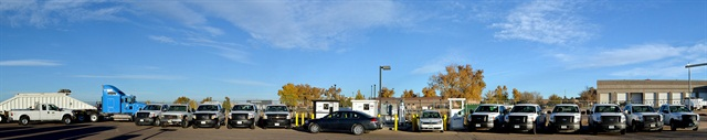 Pictured are Weld County, Colo., natural gas vehicles in front of its CNG fueling station. Photo courtesy of Weld County.