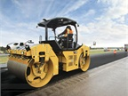 Caterpillar's B-Series roller uses global navigation satellite system positioning to correlate compaction, frequency, and pass-count data to specific locations. Photo courtesy of Caterpillar