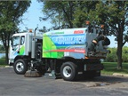 Regenerative air sweepers, such as this Elgin Crosswind sweeper, are typically used in municipal applications on streets, parking lots, and alleyways. Photo courtesy of Elgin