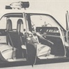 Close-up interior view of a 1963 Oldsmobile Highway Patrol Apprehender shows the special equipment installed by the LAPD in its freeway patrol cruisers.
