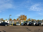 Pictured are Weld County, Colo., natural gas vehicles in front of its