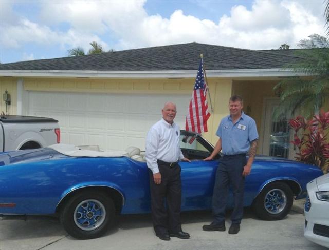 Tim (left) and Patrick (right) Calhoun, with Tim's '71 Cutlass. Photo courtesy of Tim Calhoun
