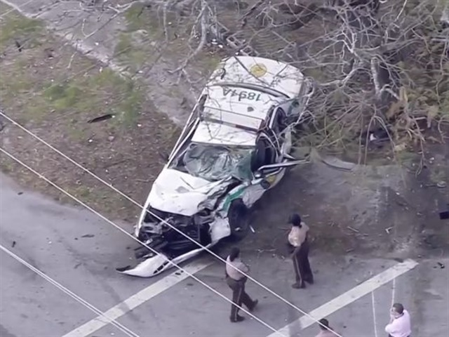 A Miami-Dade police officer was injured March 21 after a pursuit. Screenshot via Local10.com.