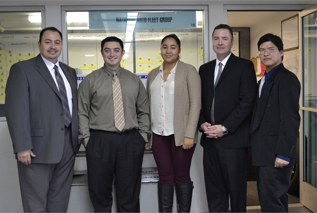 Staff at the National Auto Fleet Group, which manages the National Joint Powers Alliance (NJPA) contract. Pictured (l-r) are: Alfred Gonzalez, Jesse Cooper, Miranda Rodriguez, Neil Carroll, and David Dao.