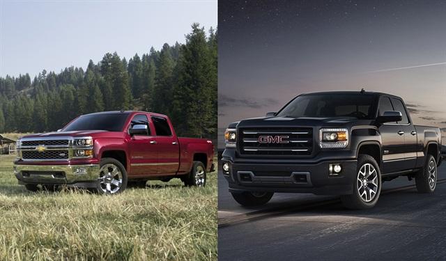 The 2014 Chevrolet Silverado (left) and GMC Sierra (right).