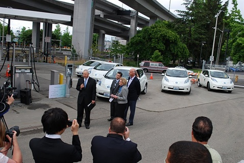 Five Nissan Leafs were present the rollout ceremony led by Mayor Mike McGinn.