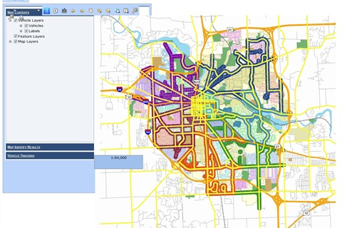 This image shows the Web-based tool Ann Arbor residents and others can view to see real-time information about snowplows.