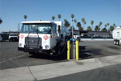 The new truck is pictured by a time-fill CNG dispenser, of which the City of Riverside has 98.