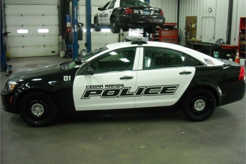 One of the seven new Chevrolet Caprice PPVs delivered to the City of Cedar Rapids. This vehicle has been through the upfitting process.