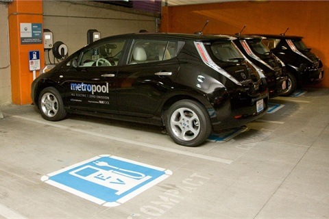 King County's four new Nissan LEAFs will be used by employees in the  Seattle Children's Hospital for commuting purposes. Photo courtesy King  County Department of Transportation Metro Transit Division.
