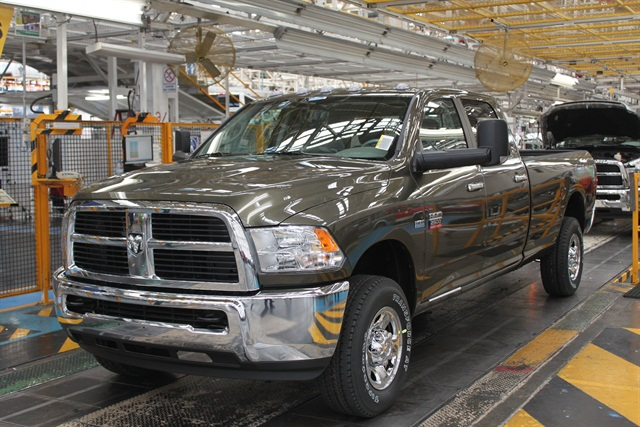 One of Chrysler's Ram 2500 CNG pickup trucks rolling off the assembly line.