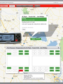 The Web-based software application provides real-time updates for global position and vehicle tracking indicators along with tire pressures and temperatures.