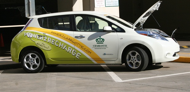 The City purchased seven Nissan Leafs (pictured) and one Chevrolet Volt. Photo courtesy of the City of Charlotte.