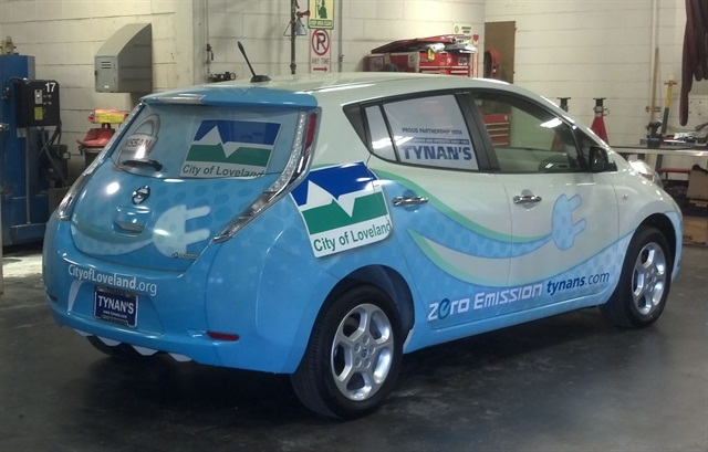 The City of Loveland's cars are highly visible as they will be wrapped with a graphic promoting clean energy transportation. Photo courtesy of the City of Loveland.