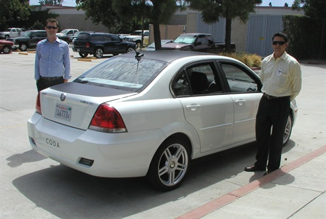 CODA provided an all-electric sedan for attendees to test drive after the event.