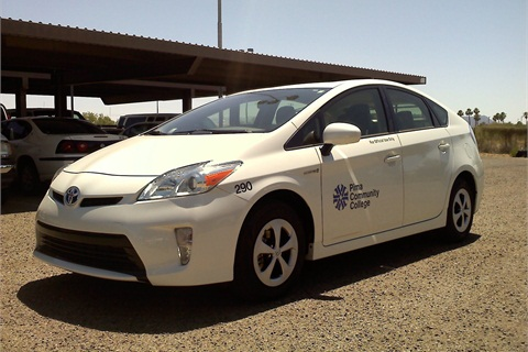 The Priuses were bought under Pima Community College's vehicle fleet lifecycle-replacement program. Photo courtesy of PPC.