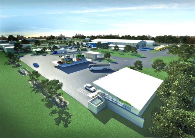Pictured is a rendering of the CNG fueling facility, which will be have three dispensers initially and the ability to add two more. Image courtesy NoPetro.