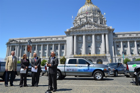 """We are excited to work with Chrysler to put these 14 plug-in hybrid electric pickup trucks to the test,"" said San Francisco Mayor Edwin Lee. Photo courtesy City of San Francisco Mayor's Office."