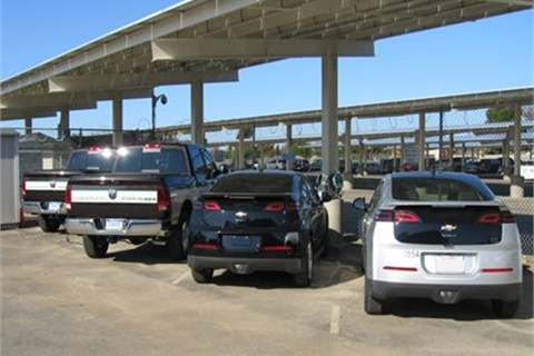 The solar panel installation will power, among other things, four EV chargers for City vehicles.