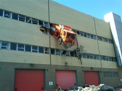 Nyc Sanitation Dept Truck Crashes Through Third Floor