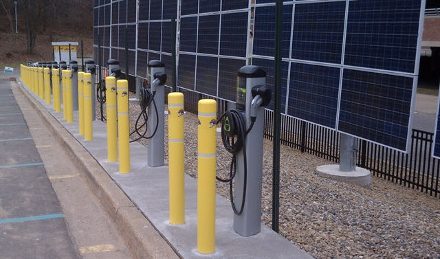 Western Michigan University's 15 new electric vehicle charging stations and a solar array were partially funded by a $700,000 grant from the CEC. Photo courtesy of the CEC.