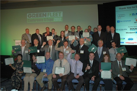 A number of the 40 Sustainability All-Stars honorees for 2012 were able to attend the 2012 Green Fleet Conference to receive their award in person. Photo by Chris Wolski.