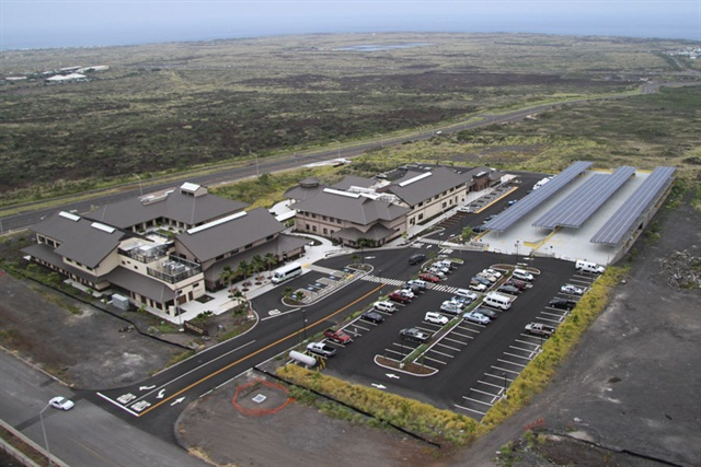 The West Hawaii Civic Center is shown in these aerial photos. The 250 kW photovoltaic array installed on the parking structure provides power for the Center and to charge the County of Hawaii's new electric vehicle fleet. Photo courtesy of Hawaii County Office of Mayor Billy Kenoi.