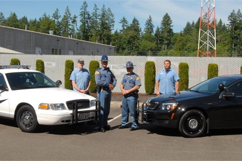 (L-R) Technician Jerry Thorsell, Trooper Paul Wanzenried, Trooper Jason Cuthbert, and Technician Ryan Parya.