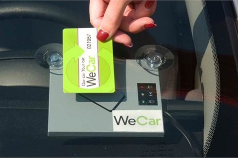 Drivers swipe a special WeCar card to access vehicles they've already reserved.