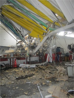 Damage to the fleet facility. Photo courtesy Kent County Sheriff's Department.