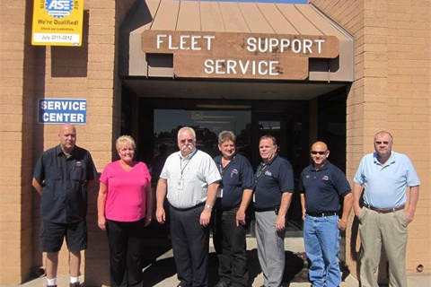 Peter Scarafiotti, director & automotive engineer of the Fleet Services Department, said one of the areas he's most proud of is the quality of the fleet staff. Pictured are (l-r) Pat Mann, parts supervisor; Denise Ruther, equipment management system; Scarafiott; John Milhon, fleet maintenance superintendent; Jim Gould, fleet support administrator; Chris Jack, first shift foreman; and Herb Moore, budget analyst.