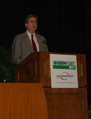 Tulsa Mayor Dewey Bartlett talks at the Green Fleet Conference.