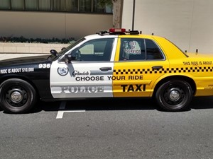 <p>The City of Glendale (Calif.) Police Department's DUI awareness vehicle is designed to look like a taxi and patrol car. Photo courtesy of&nbsp;</p>