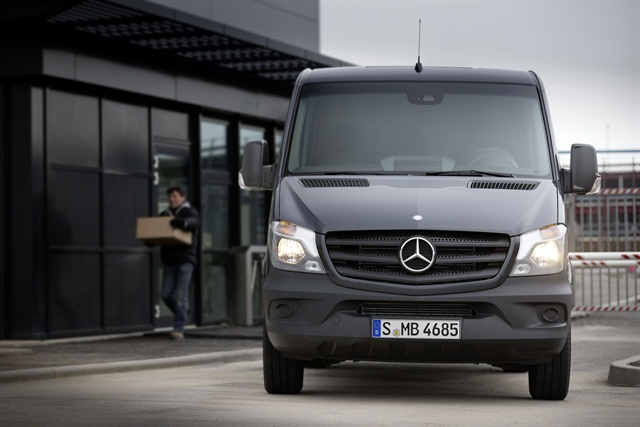 Mercedes said it will offer a number of new optional safety systems for the 2014 Sprinter, including Blind Spot Assist, Lane Keeping Assist, Highbeam Assist, Collision Prevention Assist, and the PARKTRONIC system. Photo courtesy Mercedes.