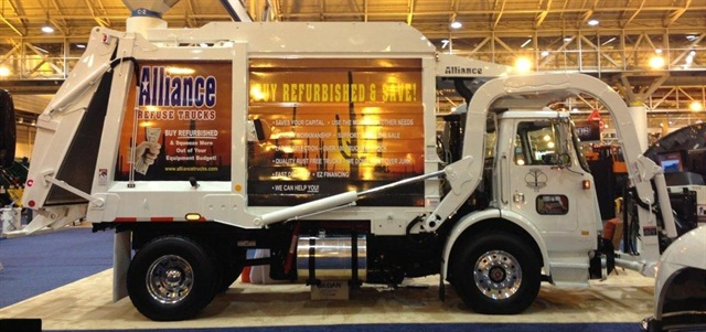Pictured is an Alliance refurbished truck at the Waste Expo Show.