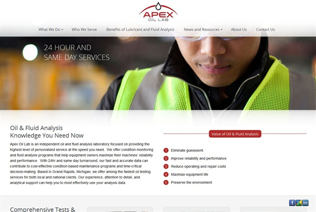 Screencapture of Apex Oil Lab website