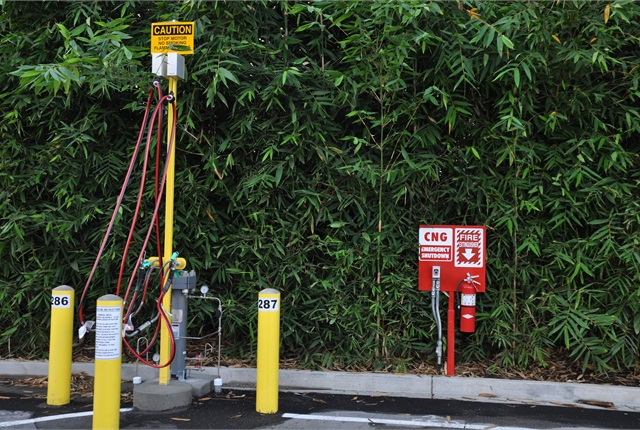 The City has nine dual-hose slow-fill CNG dispensers and a single fast-fill dispenser. Photo courtesy City of Beverly Hills.