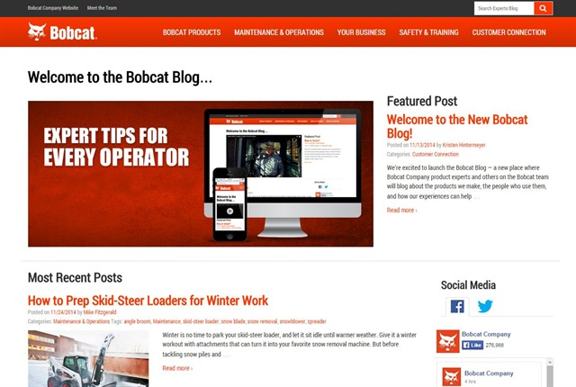Screencapture of blog.bobcat.com.