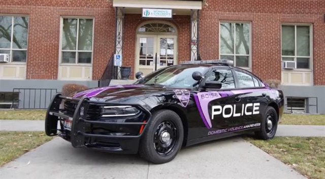 Screencapture of Boise Police Department video of its domestic abuse and sexual assault awareness specialty vehicle unveiling.