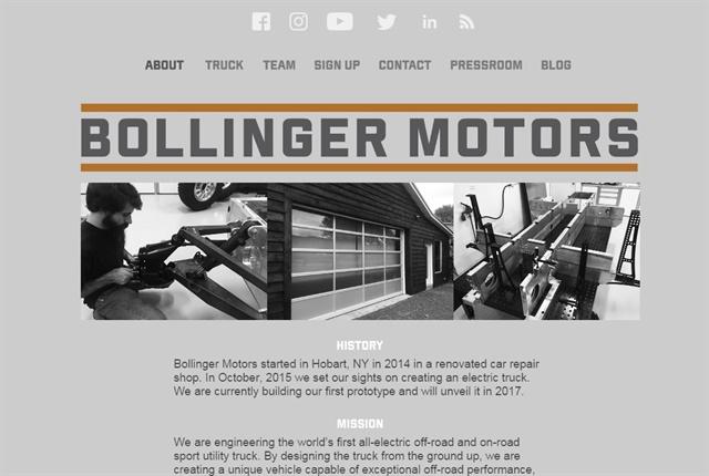 Screencapture of Bollingermotors.com.