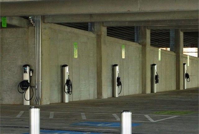 Photo of EV charging station in Hillsboro, Ore., via Wikimedia.