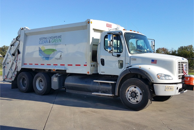 The City of Chesapeake has 35 CNG refuse trucks. Photo courtesy of City of Chesapeake.