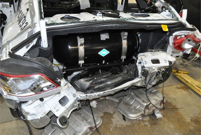 Photo of crash testing of 2015 Bi-Fuel Chevrolet Impala courtesy of GM.