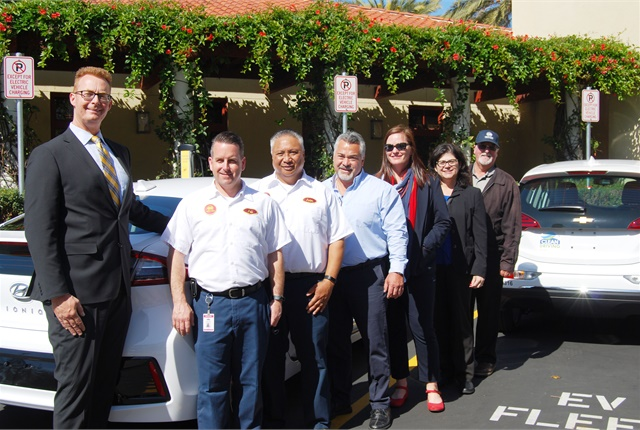Steve Knapp, fleet manager for Chula Vista (left), Assistant Director of Public Works Iracsema Quilantan (second from right) and Public Works staff celebrated the new electric vehicle deployments. Photo courtesy of Center for Sustainable Energy