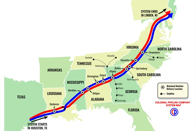 Colonial Pipeline's system map. Photo courtesy of Colonial Pipeline