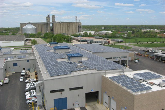 The solar panels will save approximately $23,000 annually, based on historic electricity costs for the building. Photo courtesy City of Columbus.
