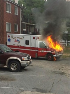 The DC Fire Fighters L36 association posted this picture of an ambulance on fire in an emergency room parking lot. Photo via Twitter/@IAFF36.