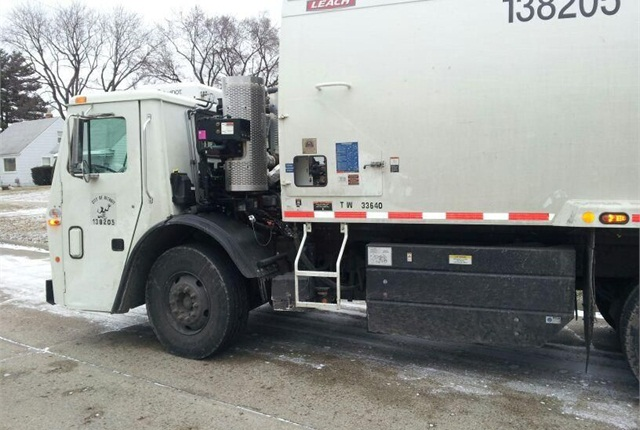 Detroit's new hybrid refuse trucks could reduce fuel costs by up to 25% in comparison to conventional refuse trucks. Photo courtesy of the Clean Energy Coalition.